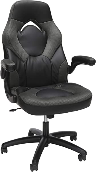 Essentials Racing Style Leather Gaming Chair Ergonomic Swivel Computer Office Or Gaming Chair Gray ESS 3085 GRY