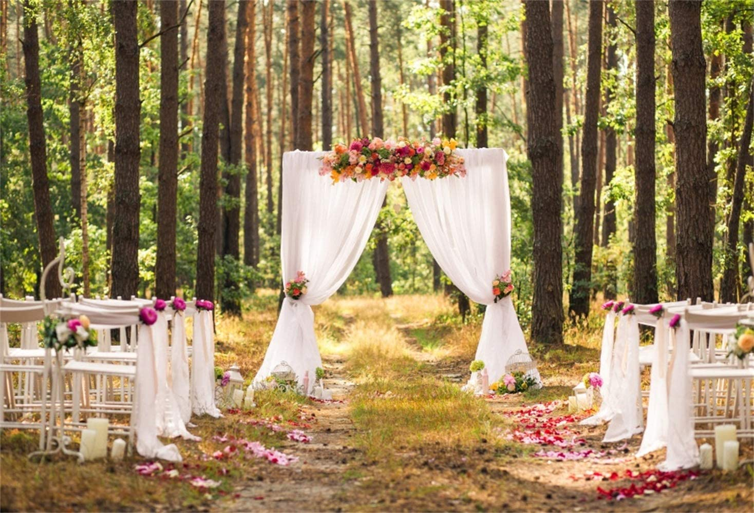 Vinyl Outdoor Wedding Backdrops 8x6.5ft Ribbon Balloons Woods with Love Forever Symble Backgroud Romantic Proposal Confession Autumn Forest Country Garden Artistic Studio Props