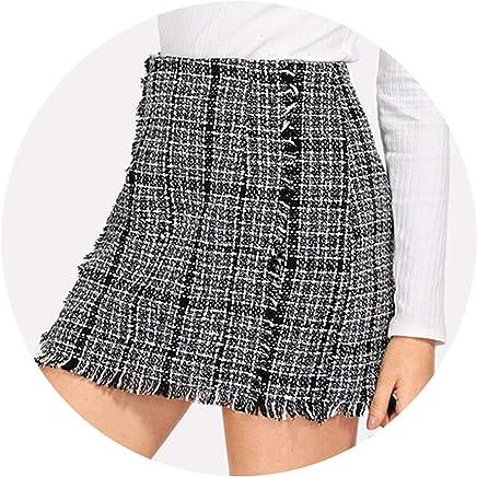 better-caress Skirts Multicr Elegant Frayed Edge Trim P Tweed Mid Waist Autumn Highstreet Skirts