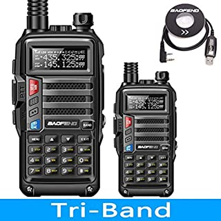 2Pack BaoFeng UV-9S Tri-Band 5W VHF,1.25M,UHF 136-174/220-225/400-520Mhz Extra 220 Antenna Portable Amateur Ham Two Way Radio & Programming Cable (Black)