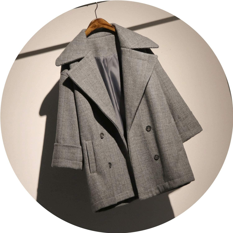 Jifnhtrs Fashion Women Autumn Long Sleeve Patchwork Pocket Woolen Loose Coat Clothes TA671