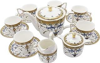 fanquare 15 pièces Services à Thé en Porcelaine British Royal Series,Ensemble de Café en Porcelaine à Motif Vintage Bleu, ...