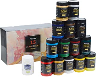 MEEDEN Acrylic Paint Set, 15 Vibrant Colors, 300ML(10.14 oz) Non-Toxic for Canvas, Fabric, Crafts, and More for Artists, B...