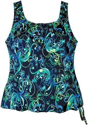 50c995d893 T.H.E. Swimwear Topanga Women's Plus Size Blouson Swim Top - Day Dreaming