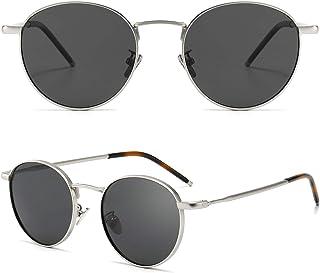 SUNGAIT - Gafas de Sol Polarizadas Vintage Redondas Marco de Metal Retro Clásica Gafas de Sol Circular para Mujer Hombre-SGT059
