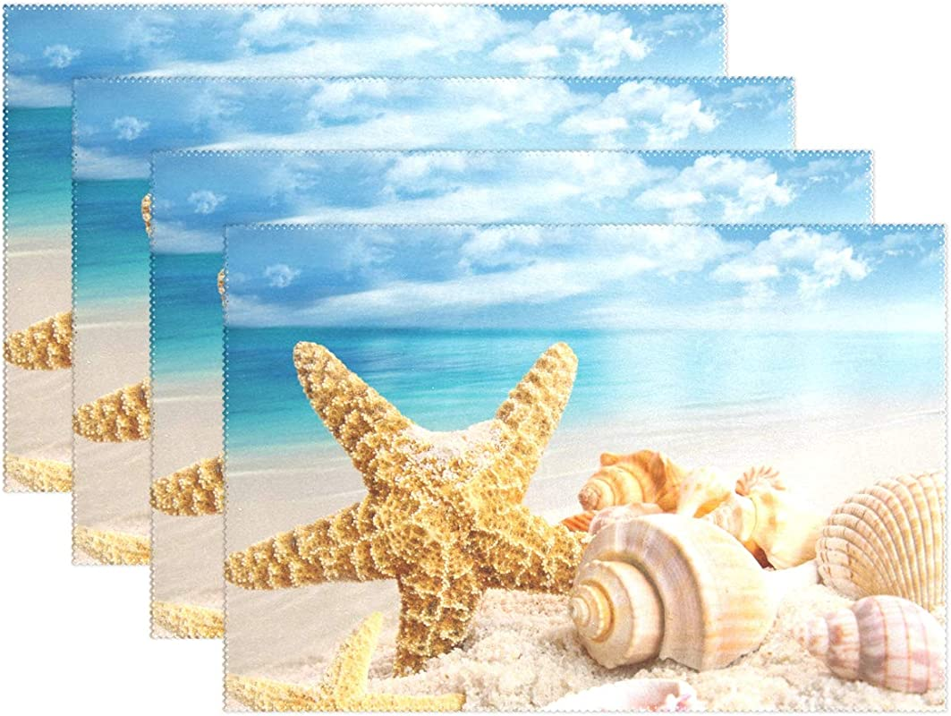 BETTKEN Place Mats Set Of 4 Sea Beach Starfish Seashell Placemat Washable Heat And Stain Resistant Table Mat Kitchen Dining Table Decoration