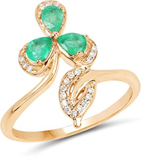 14K Yellow Gold Zambian Emerald and White Diamond Ring (0.48 cttw, I-J Color, I2-I3 Clarity) from Johareez