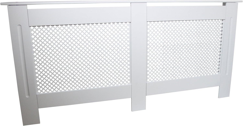 Cubierta de radiador de Madera MDF Pintada en Blanco, Parrilla enrejada Moderna calefacción Muebles para el hogar gabinete Estante 1720mm