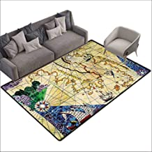 Bathroom Rug Kitchen Carpet Compass,Old Nautical Chart Ancient Map Historical Territories Geographical Illustration,Beige Navy 80