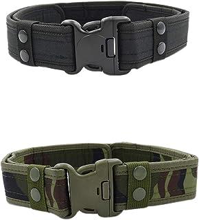 MESHIKAIER Hombre Nylon Cinturón Adjustable Militar Táctico Cinturón Policia Cinturón Outdoor Deport Cinturón + Plastico H...