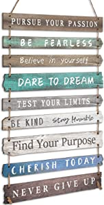 FairySandy Rustic Wall Hanging Plaque Sign Inspirational Wall Art for Your Home Motivational Wooden Decor Inspirational Positive Wall Plaque with Saying Quotes for Home Office Bedroom Living Room