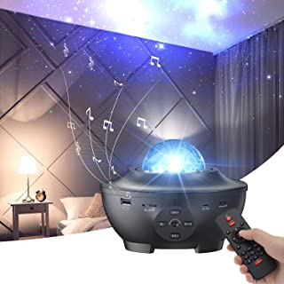 Star Projector with Bluetooth Speaker Remote Control Night Light with Moving Ocean Wave for Holiday Decor Mood Ambiance Ho...