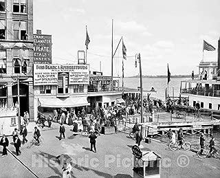 Restored Black & White Photo - Historic Detroit, Michigan - Ferries to Boblo Island, c1895-44in x 32in