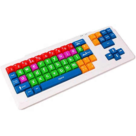 DURAGADGET 子供向で安全、また視覚障害者や特別支援必要者向け PS2/USB パソコン接続可能カラフルなキーボード