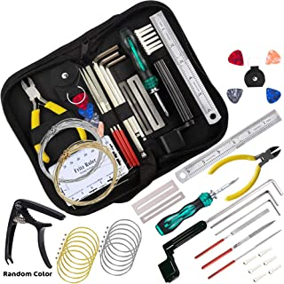 Guitar Repair Tool Kit (38 Pcs), Guitar Maintenance Kit, Strings Organizer+Picks+Capo+Hex Wrenches+Bridge Pins+Wire Plier+Peg Winder+Screwdriver for Ukulele Bass Mandolin Banjo