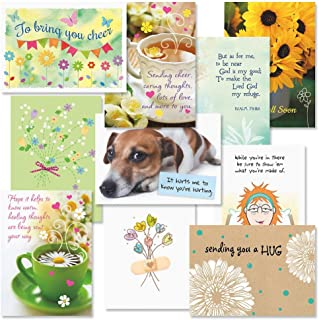 Get Well Faith Greeting Cards Value Pack - Set of 20 (10 designs) Large 5 x 7, Sentiments Inside, Get Well Soon Cards, Get Well Wishes