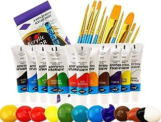 UGUI Peinture Acrylique, 12 Tubes de Couleurs&10 Pinceaux, Non Toxiques Paint, Pigment Riche avec Peinture aux Couleurs Vi...