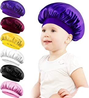 Duufin 6 Pieces Satin Bonnets Sleeping Caps Wide Band Sleeping Hats for Kids Toddlers