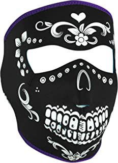 Neoprene Face Mask, Muerte, Purple Piping, Teal Interior