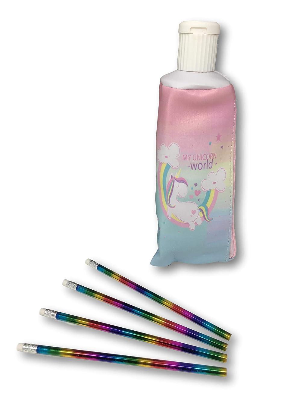 Unicorn Pencil Case - Built in Pencil Sharpener Tip Plus Unicorn Pencils Set (