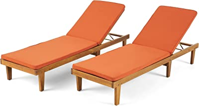Christopher Knight Home 310753 Madge Oudoor Chaise Lounge with Cushion (Set of 2), Teak Finish, Rust Orange