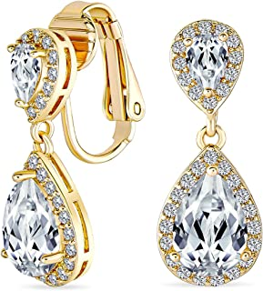 Bridal Cubic Zirconia Teardrop AAA CZ Halo Dangle Drop Clip On Earrings For Women Silver Rose Gold Plated More Colors