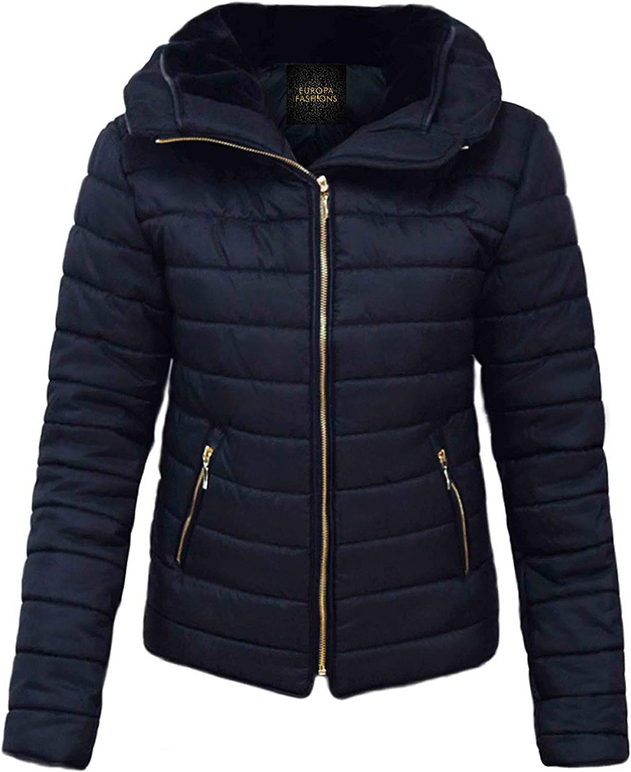 Love My Fashions Women Padded Puffer Jacket Ladies Bubble Fur Collar Quilted Knitted Plus Size