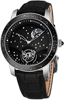 Graham The Moon Mens Flying-Tourbillon Moon-Retrograde 8 Piece Limited Edition Watch - 46mm 18K White Gold Watch with Black Face 48 Diamond Constellation - Black Leather Band Swiss Made Luxury Watch