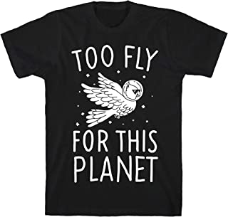 LookHUMAN Too Fly for This World Black Men's Cotton Tee