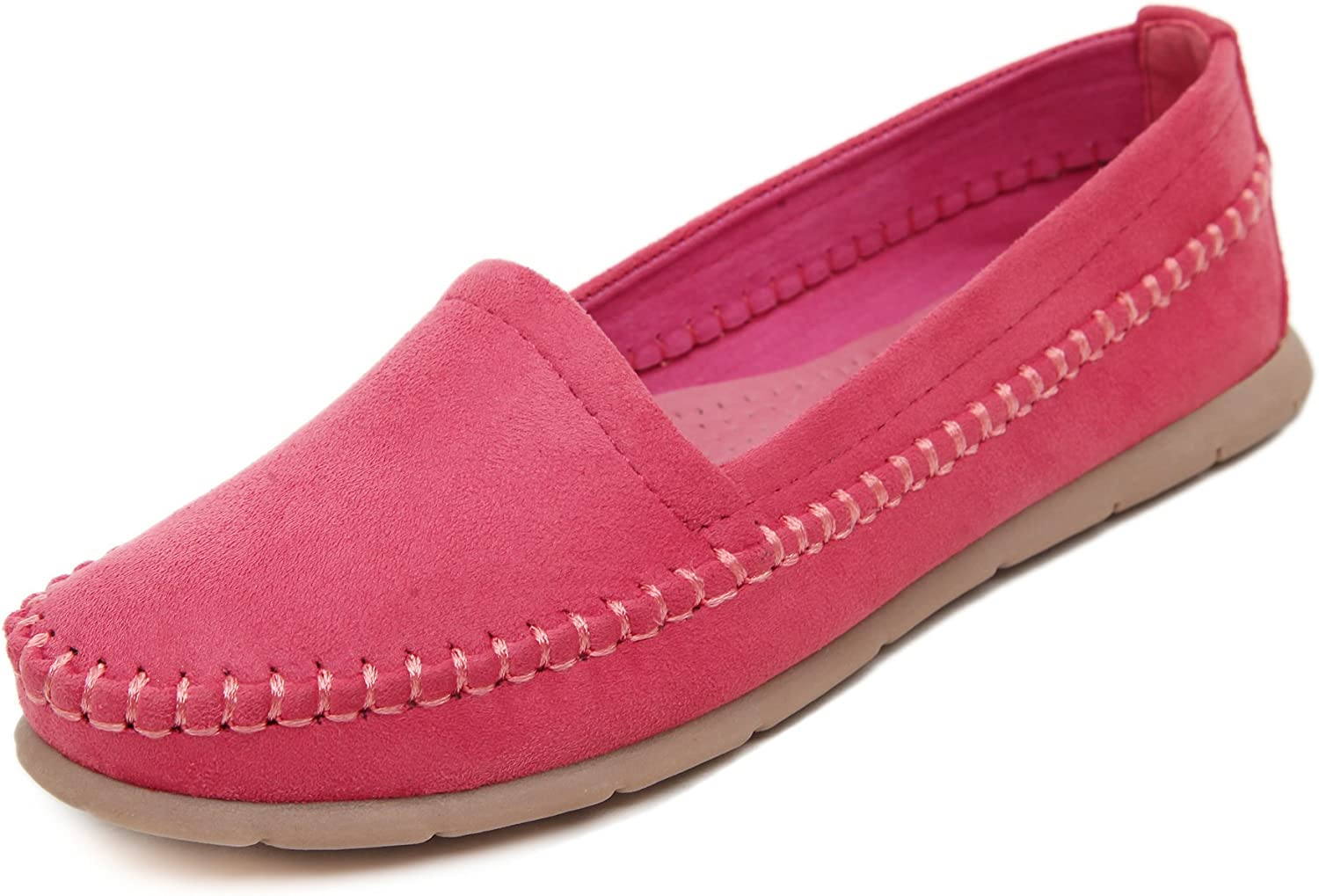 Adelina Women's Classical Solid Boat Loafer shoes Driving Moccasin Red 40 EU   8.5-9 US