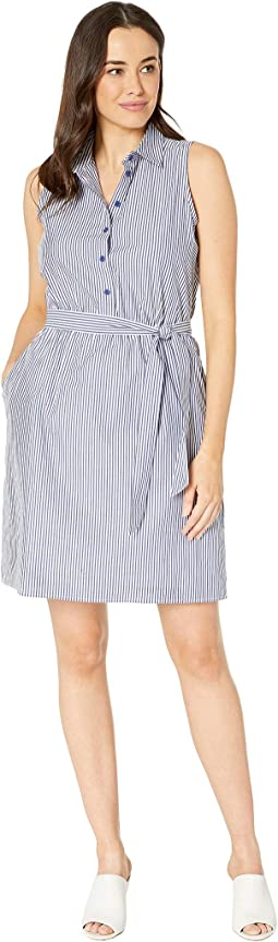 Stripe Shirting Sleeveless Dress with Sash
