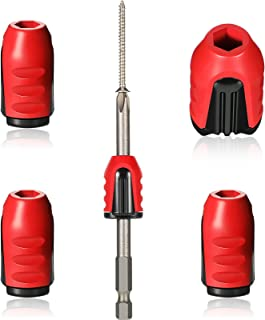 Magnetic Screw Holder Rings, 1/4 Inch/ 6.35 mm Screwdriver Driver Bits Magnetizer for Electric Drill and Hand Tools, Red (...