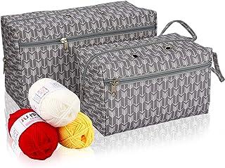 Coopay 2 pièces Sac Fourre-Tout pour Rangement pour Fils Textiles (29×17×12cm) et (21×13×12 cm),Sac à Tricoter pour Tous L...