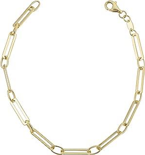 Kooljewelry 14k Yellow Gold Capsule Paperclip Link Chain Bracelet (3.9 mm, 7.5 inch)