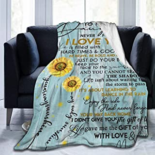 Sunflower To My Daughter Never Forget That I Love You Throw Fleece Blanket Flannel Ultra Soft Lightweight Microfiber Luxury Air Conditioner Quilt For Sofa Bedroom Office Travel All Season L 80X60