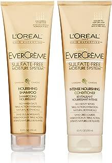 L'Oreal Paris Hair Expertise - EverCréme Sulfate-Free Moisture System - Nourishing Shampoo & Intense Nourishing Conditioner - Net Wt. 8.5 FL OZ (250 mL) Each - One Set