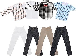Asiv 4 Juegos de Ropa Casual para Doll Novio Ken muñecas, Incl. 4 Pz Muchacho Camisetas y 4 Pz Pantalones Vaqueros - Estilos al Azar