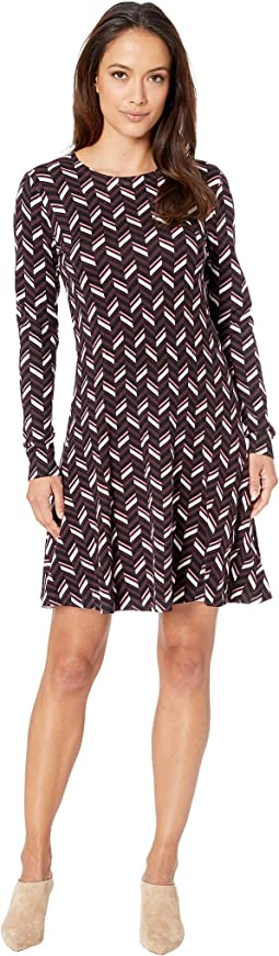 Chevron Print Long Sleeve Flare Dress