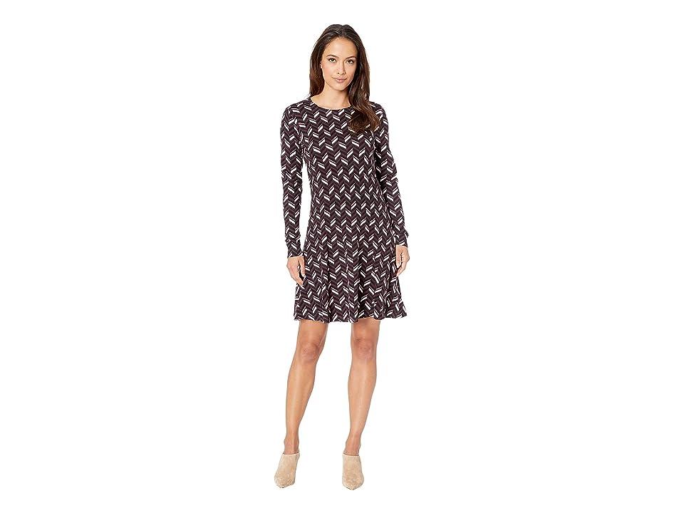MICHAEL Michael Kors Chevron Print Long Sleeve Flare Dress (Cordovan) Women