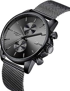 Herren-Armbanduhr, modisch, sportlich, Quarz, analog, schwarzes Mesh, Edelstahl, wasserdicht, Chronograph, automatische Datumsanzeige