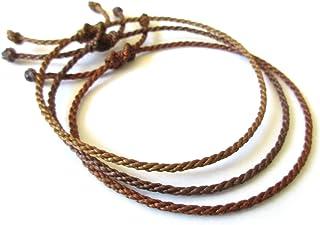 Simple//Unisexe//Porte chance//Br/ésilien Bracelet corde//fil Noir et Bleu Cordon fait et tress/é main avec du fil cir/é et ajustable R/éf.#Bi10
