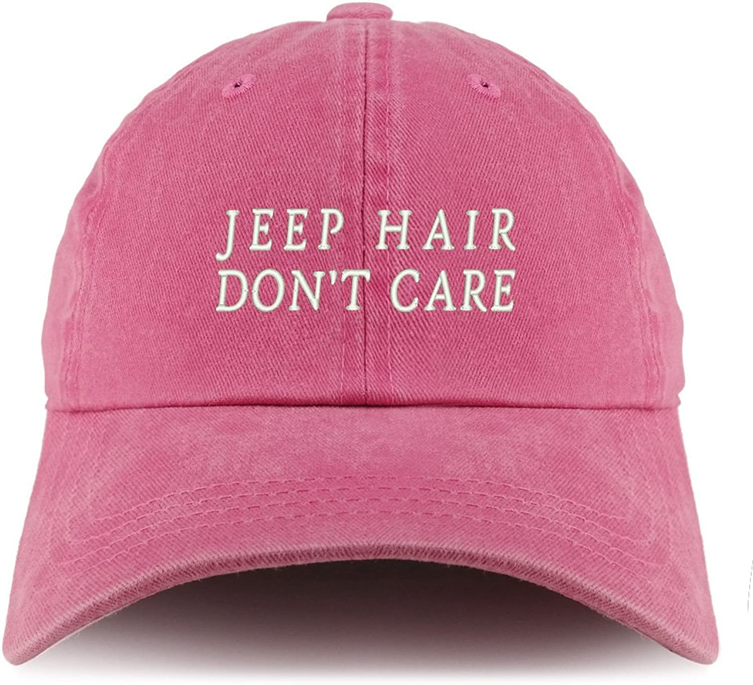 Trendy Apparel Shop Jeep Hair Don't Care Embroidered Pigment Dyed Unstructured Cap
