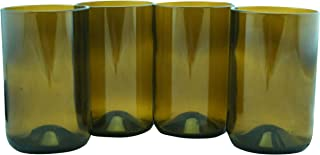 Tumblers Drinking Glasses Made From Recycled Wine Bottles 12 Oz - set of 4 (Amber, 12 Oz)