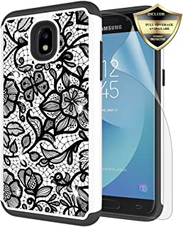 Galaxy J3 Orbit/ J3V J3 V 3rd Gen/Express Prime 3/ J3 Star/ J3 Achieve/Amp Prime 3/ J3 Aura/Sol 3 Case, Androgate Hybrid Cover Case with Screen Protector for Samsung Galaxy J3 2018, Floral Pattern