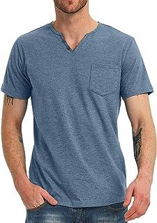 NITAGUT Men's Casual Slim Fit Short Sleeve Pocket T-Shirts Cotton V Neck Tops