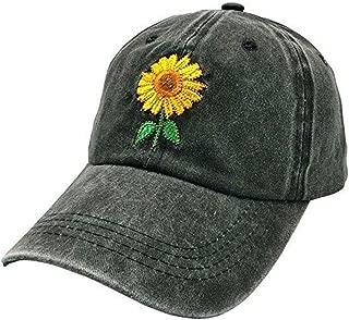 Womens Cute Sunflower Baseball Cap Funny Denim Trucker Adjustable Camping Mom Hat