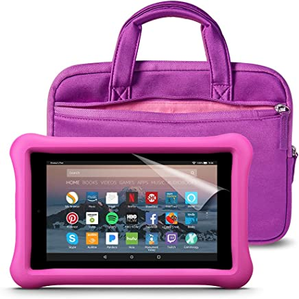 Fire 7 Kids Essentials Bundle with Fire 7 Kids Edition (Pink), NuPro Sleeve (Purple/Pink) and Screen Protector (Clear)