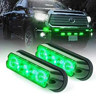 Xprite Green 4 LED 4 Watt Emergency Vehicle Waterproof Surface Mount Deck Dash Grille Strobe Light Warning Police Light Head with Clear Lens - 2 Pack