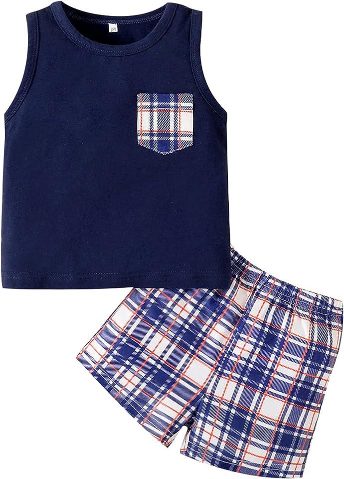 Toddler Boys Summer Cotton Outfits Sleeveless T-Shirt Tank+Short Pants Set 1-5