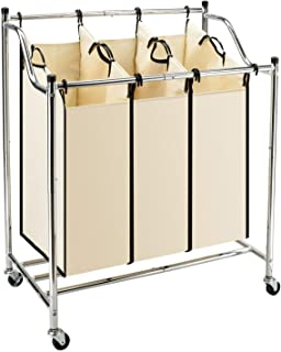 TimmyHouse Laundry Sorter 3 Section Basket Bar Hamper Bin Cart Rolling Washing Clothes New